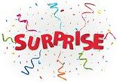 Surprise celebration with colorful confetti