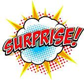 Surprise! Comic style phrase.