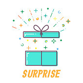 Surprise Flat open Gift box vector