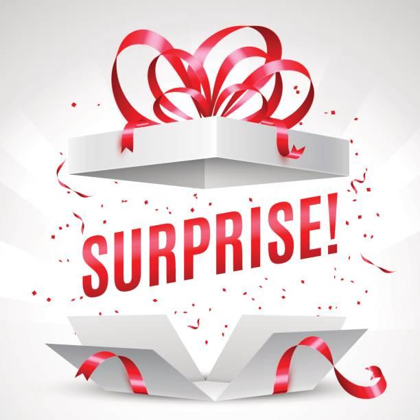 pudełko na prezent z niespodzianką - gift stock illustrations