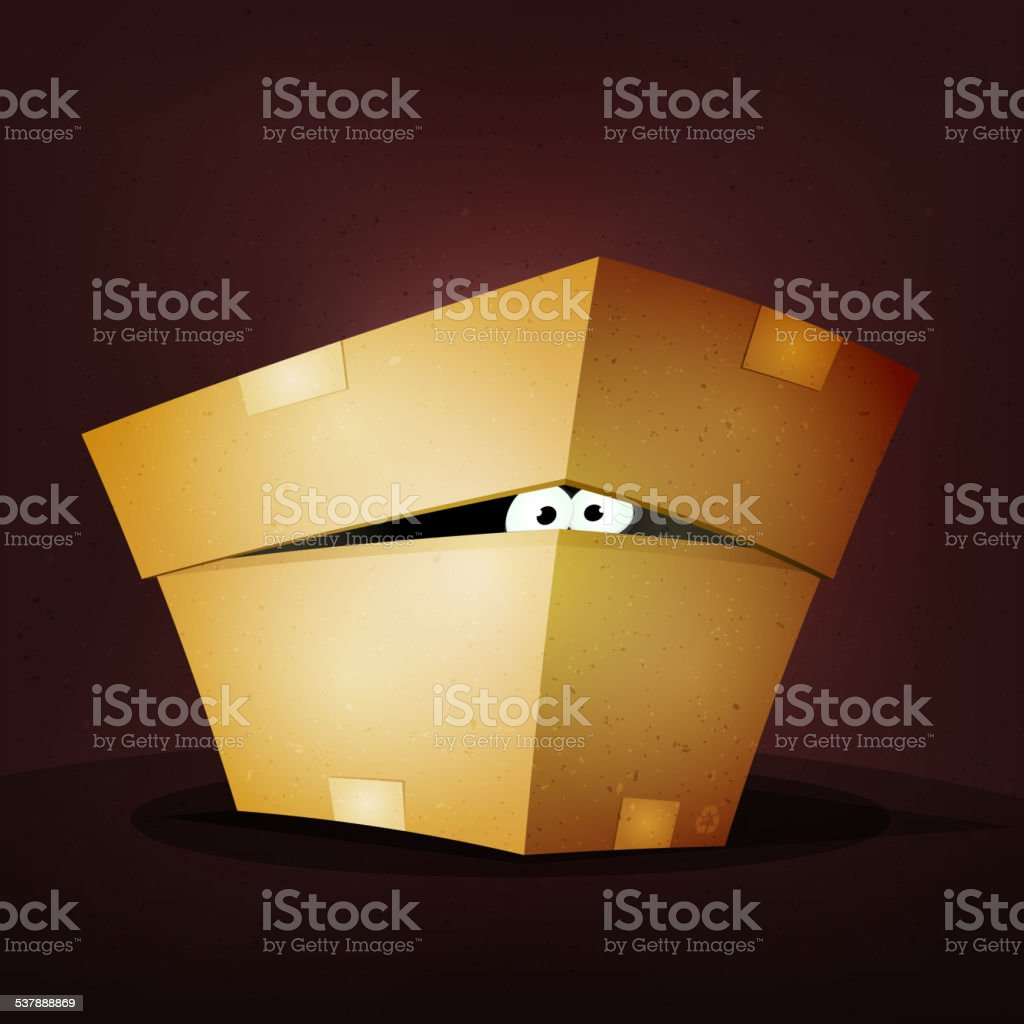 Surprise Inside Birthday Cardboard Box vector art illustration