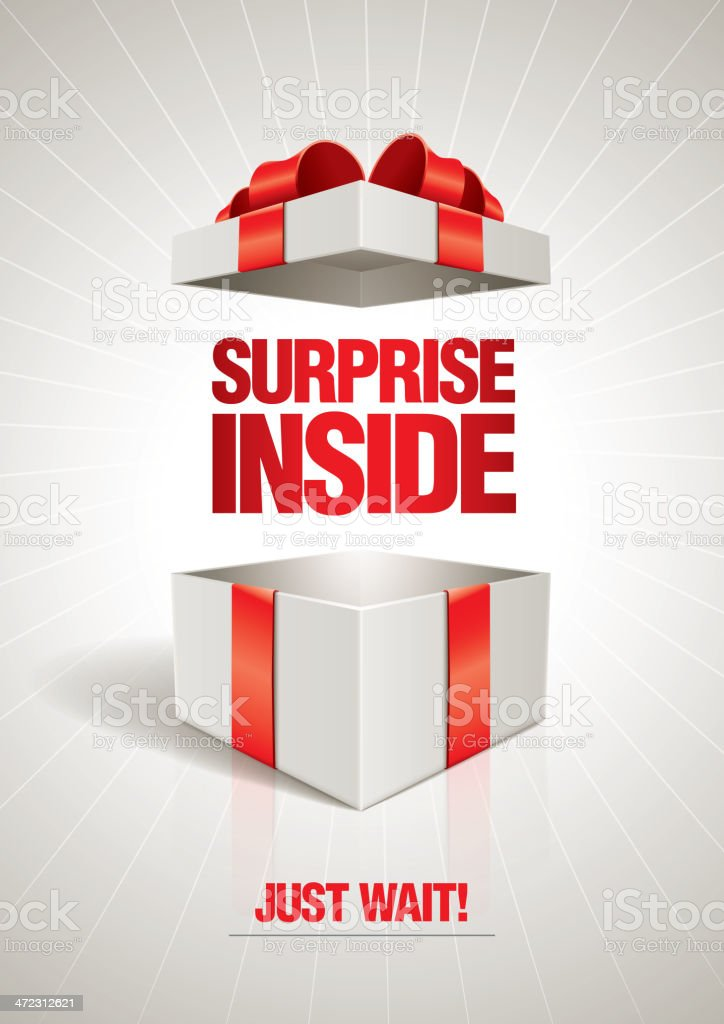 Surprise Inside Vector poster template. Message in the box. Birthday stock vector