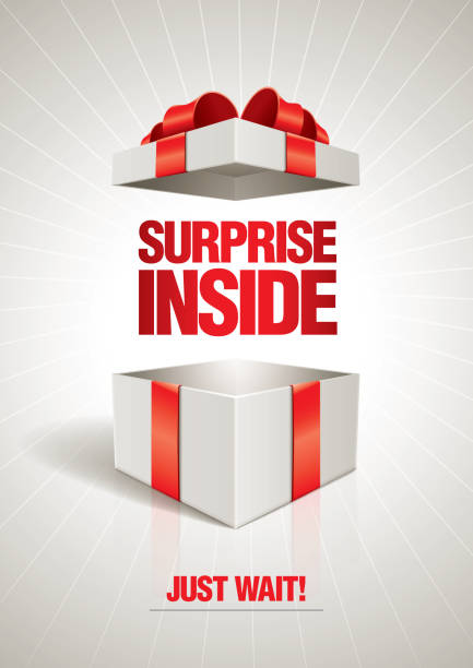 stockillustraties, clipart, cartoons en iconen met surprise inside - open