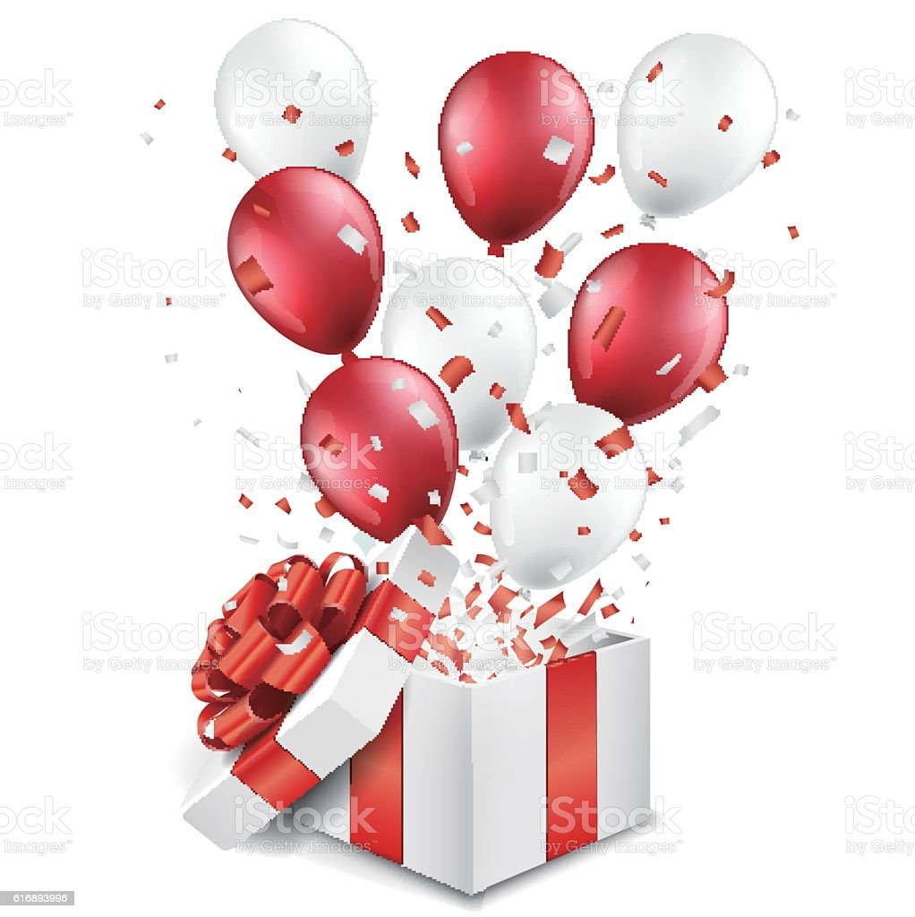 Surprise open gift box with balloons and confetti stock vector art surprise open gift box with balloons and confetti royalty free surprise open gift box with negle Images