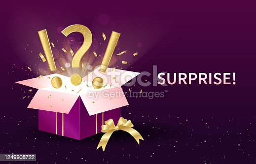 istock Surprise or Gift concept with open festive box 1249908722