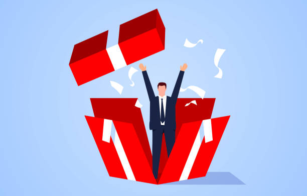 Surprise, the businessman broke the box from the inside and broke through vector art illustration