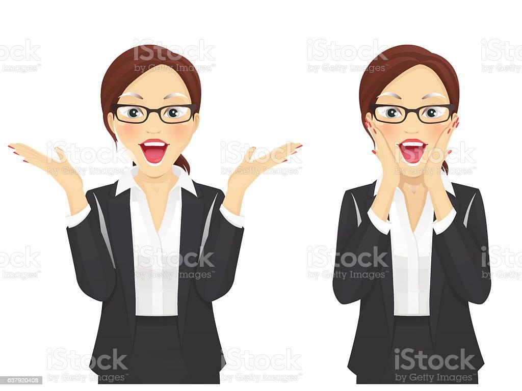 Surprised business woman vector art illustration