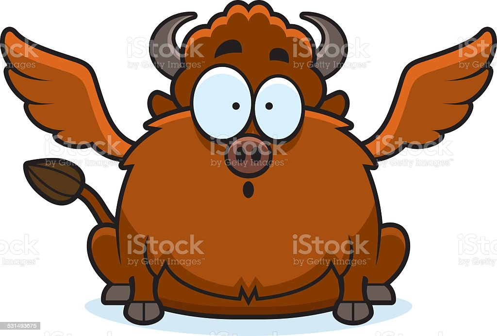Surprised Cartoon Buffalo Wings vector art illustration