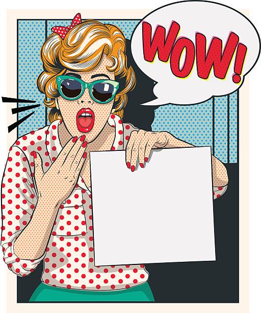 überrascht comic vintage-illustrationen - posterstile stock-grafiken, -clipart, -cartoons und -symbole