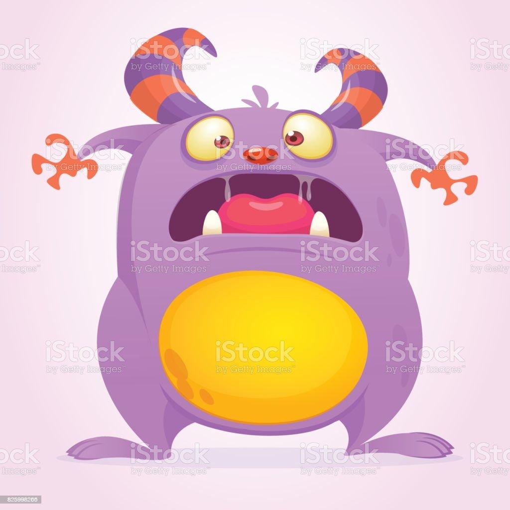 surprised cute cartoon monster halloween vector illustration of