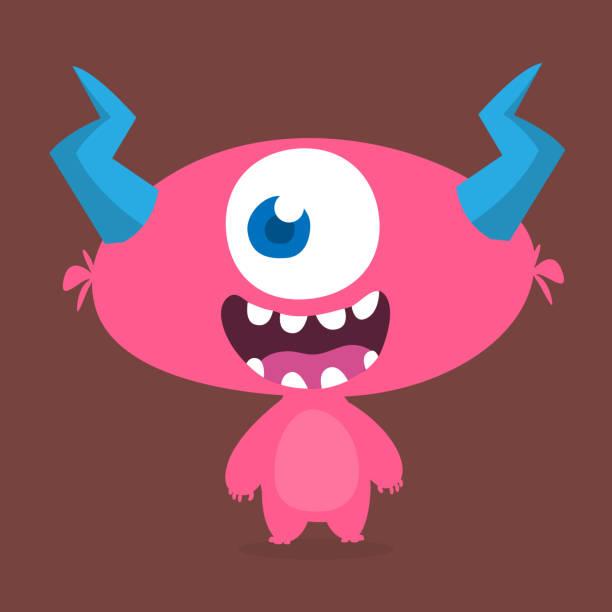 Überrascht niedlichen Cartoon Monster-Symbol. Vektor-Monster-Maskottchen. Halloween-Design für Emblem oder Aufkleber – Vektorgrafik