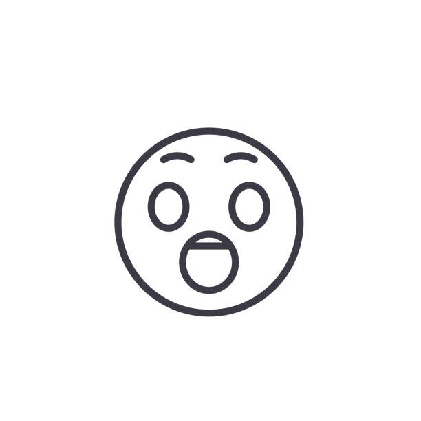 驚いて emoji_1 コンセプト ライン編集可能なベクトル、コンセプト アイコン。驚いて emoji_1 概念線形感情図 - 興奮の絵文字点のイラスト素材/クリップアート素材/マンガ素材/アイコン素材