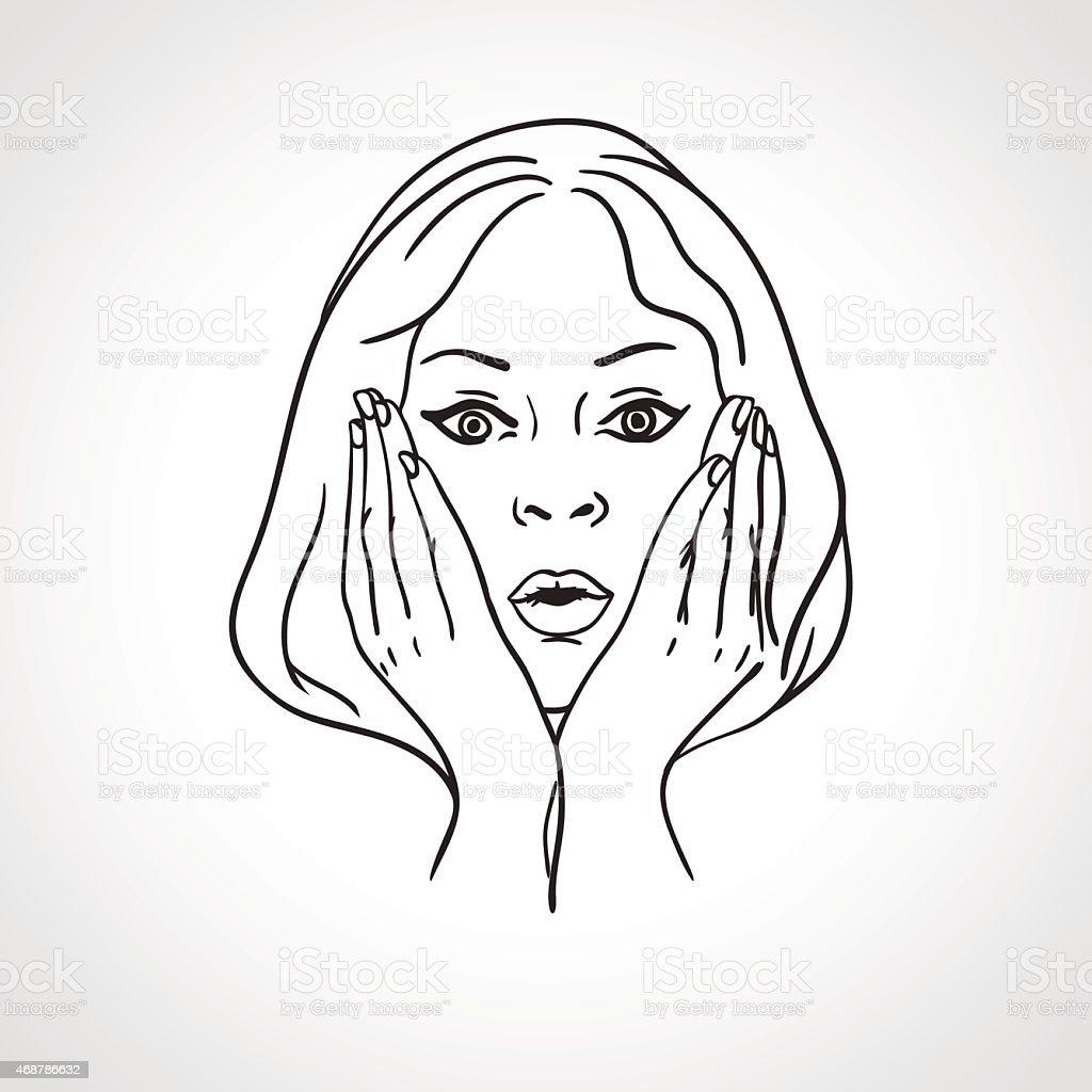 驚きショックを受ける女性の顔クローズアップのポートレート驚いた表情
