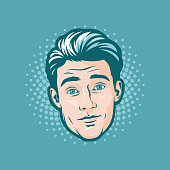 Pop art, retro style illustration of a young handsome man's head. He's looking directly forward. Isolated on turquoise.