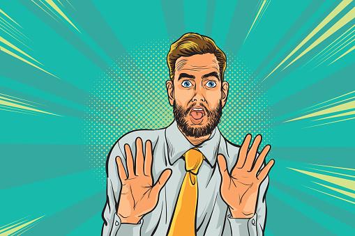 surprised man businessman and hand up worried Pop art retro vector illustration