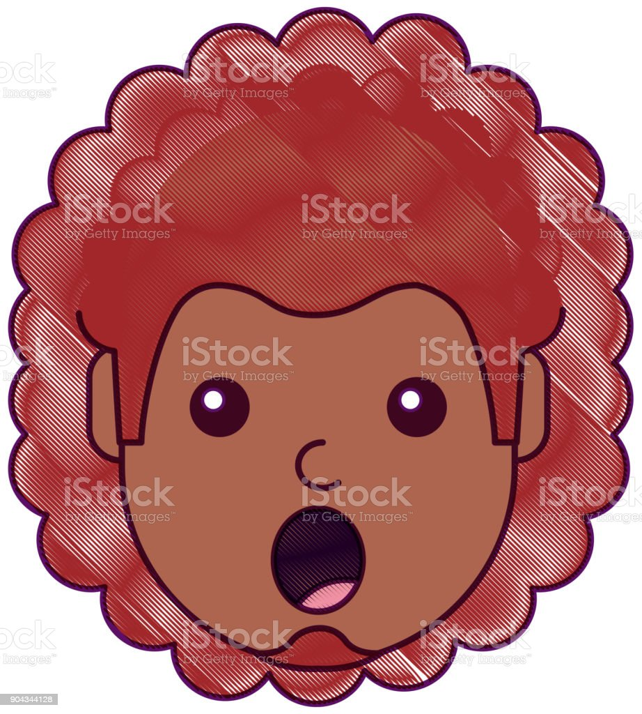 surprised man face expresion facial style vector art illustration