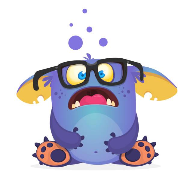 Überrascht Monster tragen Brillen und sitzen. Halloween-Vektor-illustration – Vektorgrafik
