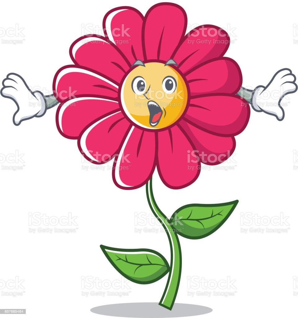 ilustração de desenho de personagem surpresa flor rosa e mais banco