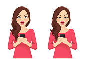 Surprised beautiful wave hairstyle woman holding mobile phone in hand isolated vector illustration