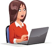 istock Surprised Young Woman At Laptop 594064468