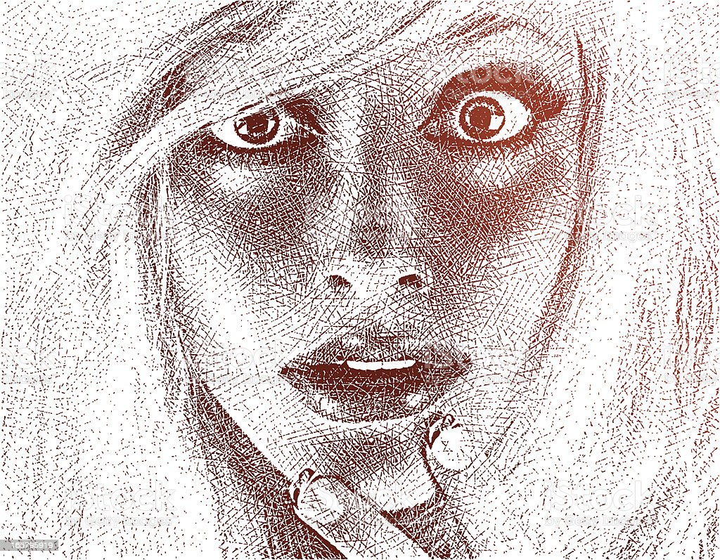 Surprised Young Woman vector art illustration