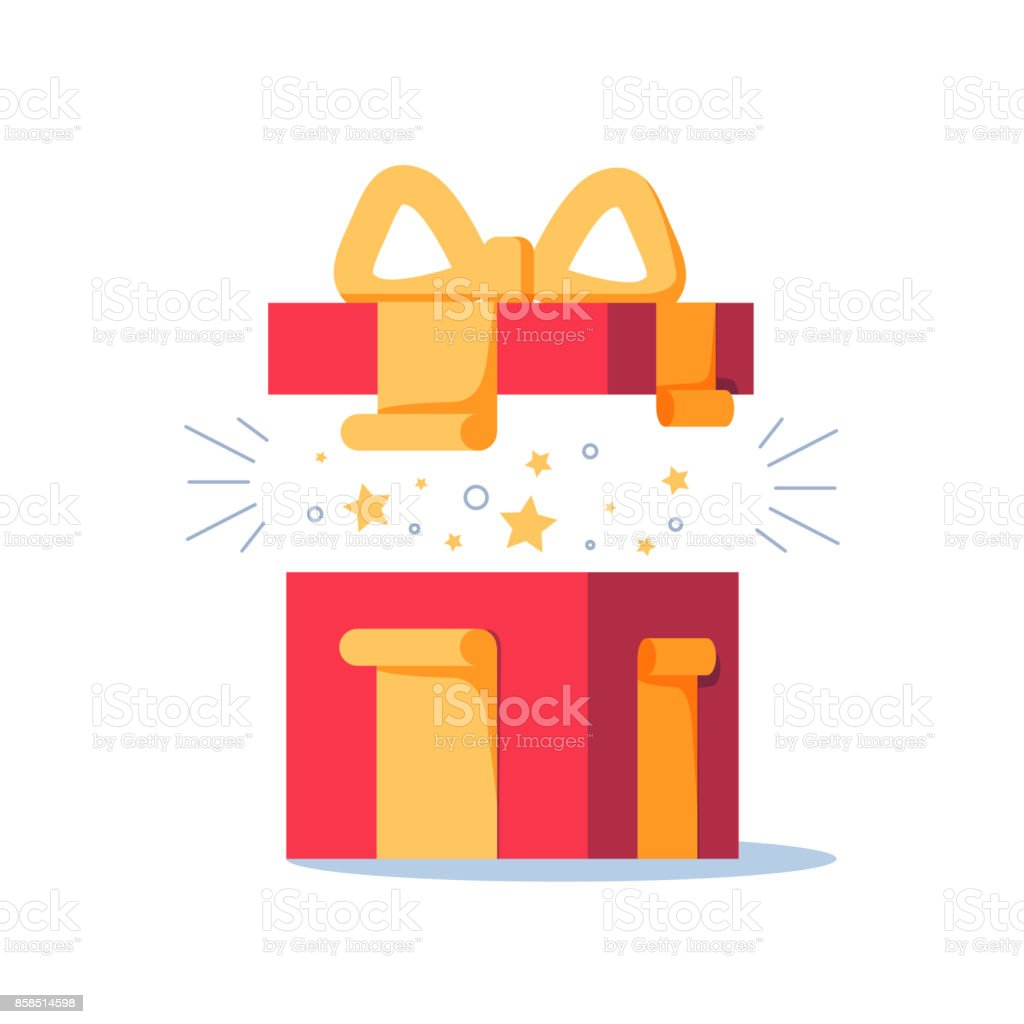 Surprising gift, opened present box, unusual experience, special celebration, birthday party, vector art illustration