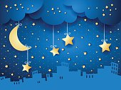 Surreal background with moon and skyline. Vector illustration eps10