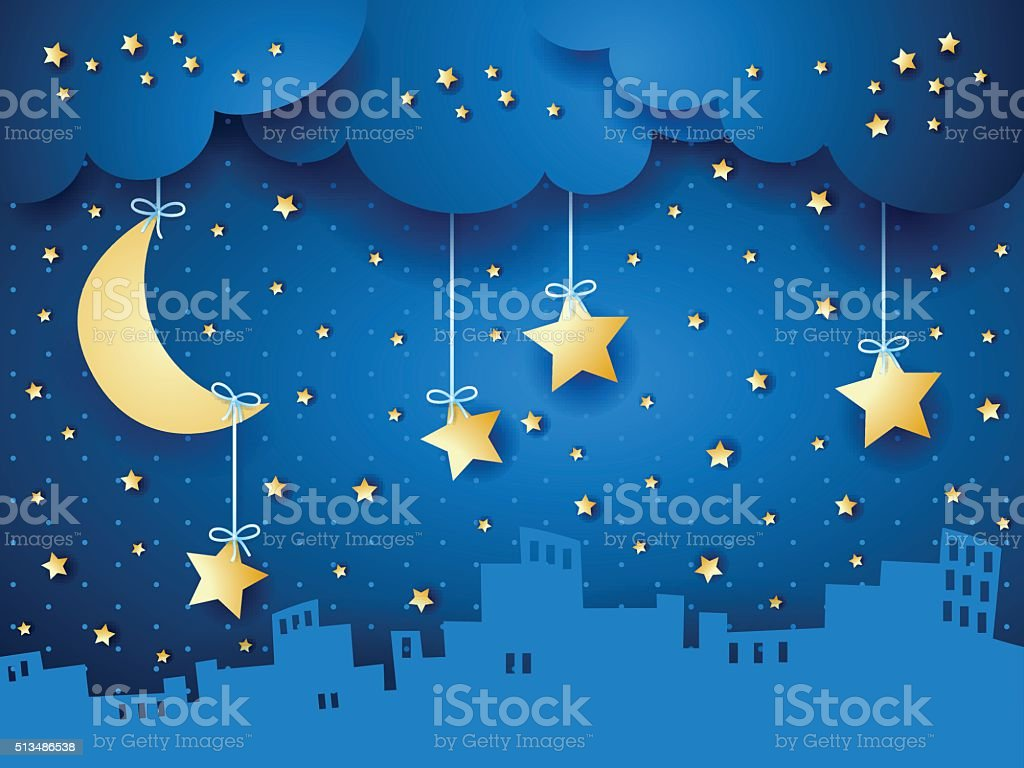 Surreal background with moon and skyline vector art illustration
