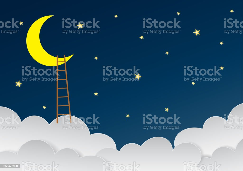 Surreal beautiful sky with crescent moon and ladders. Vector Eps10 vector art illustration