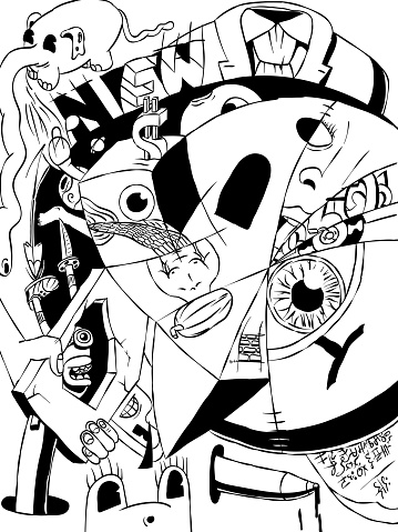 Surreal black and white cartoon illustration of doodles.