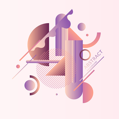 A surreal composition of different abstract and geometric shapes in pastel colors. Vector illustration and template.