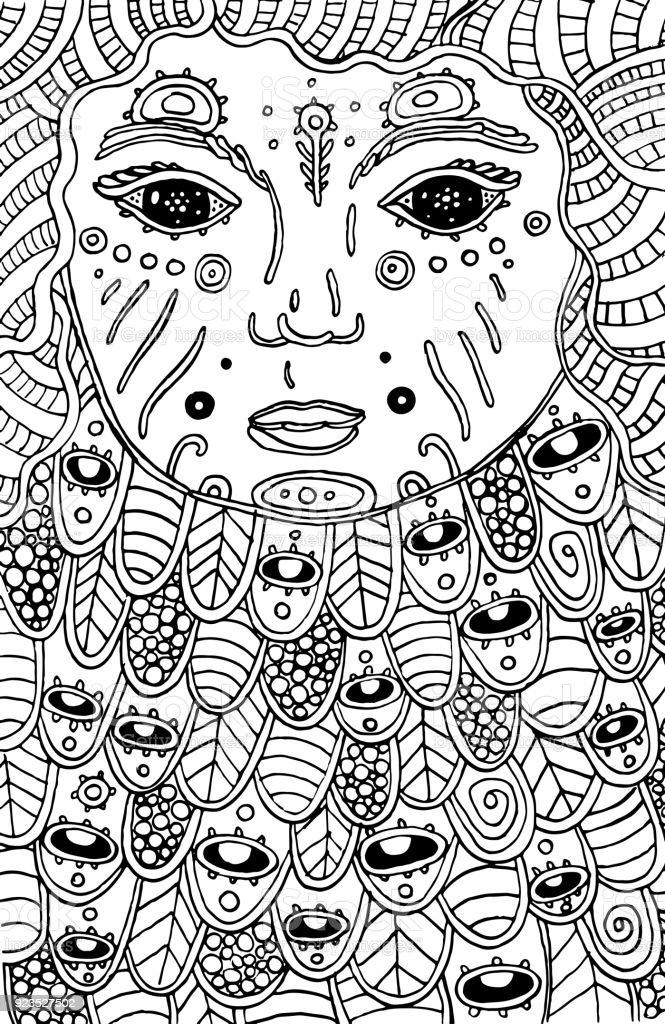 Ilustración de Niño Cósmico Surrealista Doodle Página Para Colorear ...
