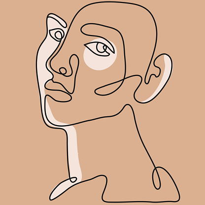 Surreal Cubism Face. Abstract Modern Face Portrait. Hand Drawn Vector Illustration. Contemporary Drawing in Modern Cubism Style.