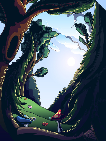 Surreal Curved Landscape - Fairy Forest.