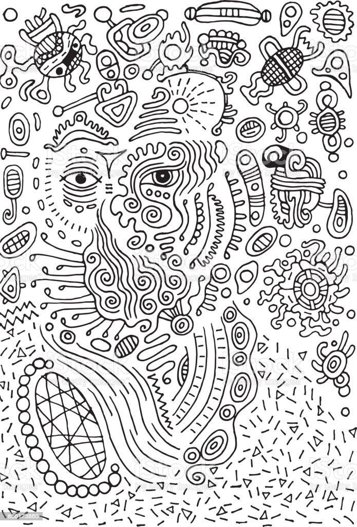 Surrealistiska doodle alien på utrymme. Illustration för design, affisch. vektorkonstillustration