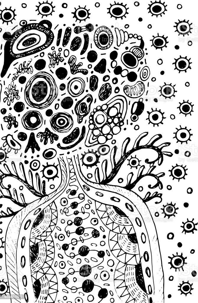 Ilustración de Doodle Surrealista Hombre Cósmico Extraterrestre Con ...