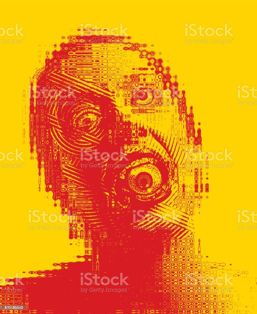 Surreal engraving illustration of a Scary adult woman with eyeball in mouth vector art illustration