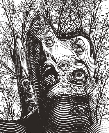 Surreal engraving of haunted forest and eyeballs with scary woman screaming