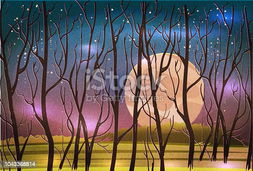 Vector illustration of a Surreal fall autumn landscape with trees, starry sky. Bare tree branches with harvest moon.