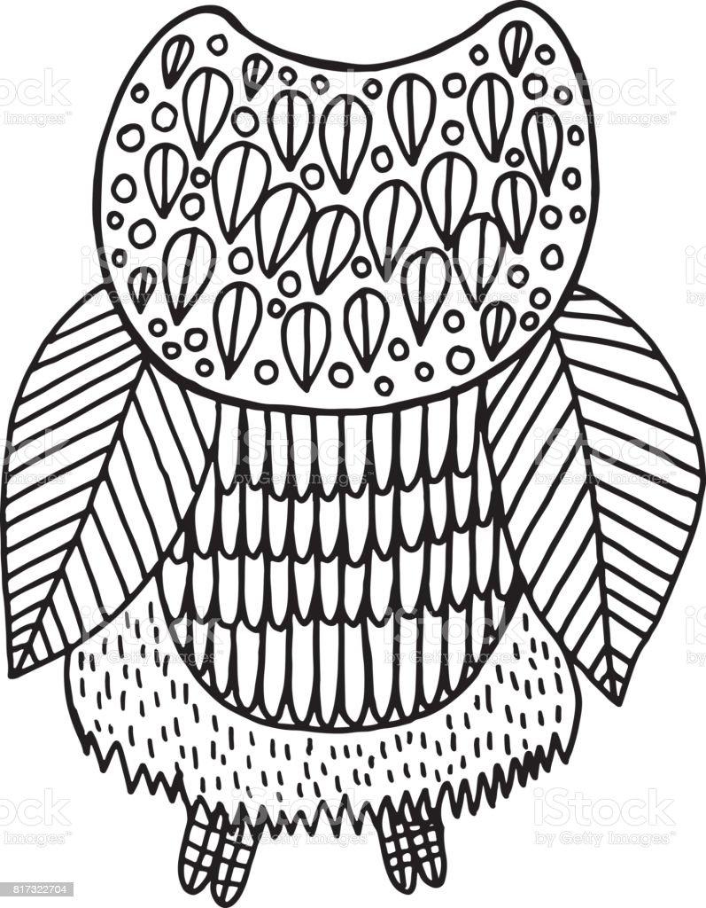 シュールな花フクロウの着色のページベクトルは手描き下ろしイラスト大人