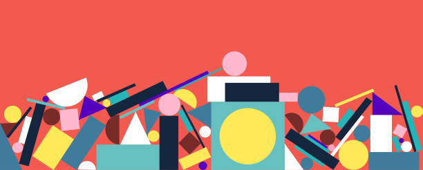 surreal geometric background - modern art stock illustrations