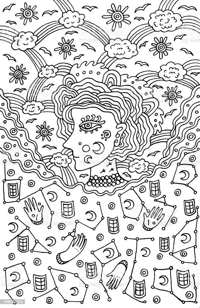 Surreale Mädchen Göttin Der Tag Und Nacht Himmel Stammesmärchen Frau