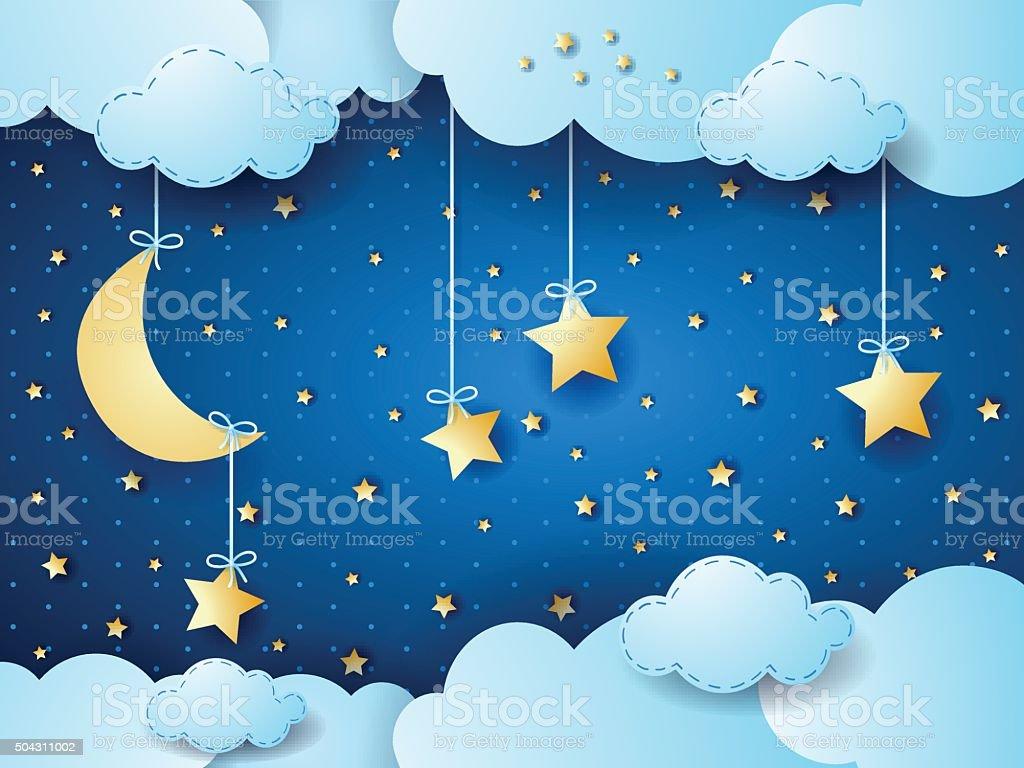 Surreal night, fantasy cloudscape vector art illustration