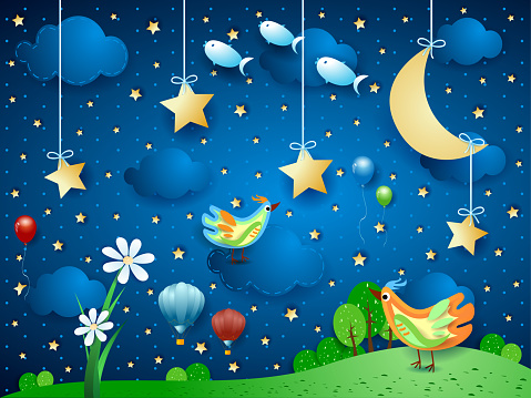 Surreal night with flower, birds, balloons and flying fishes