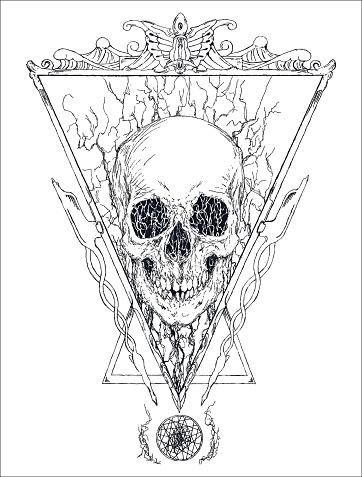 Surrealistic macabre art with skull