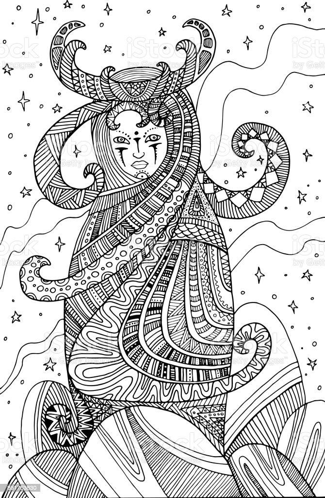 Ilustración de Chamán De La Mujer Surrealista Página Para Colorear ...
