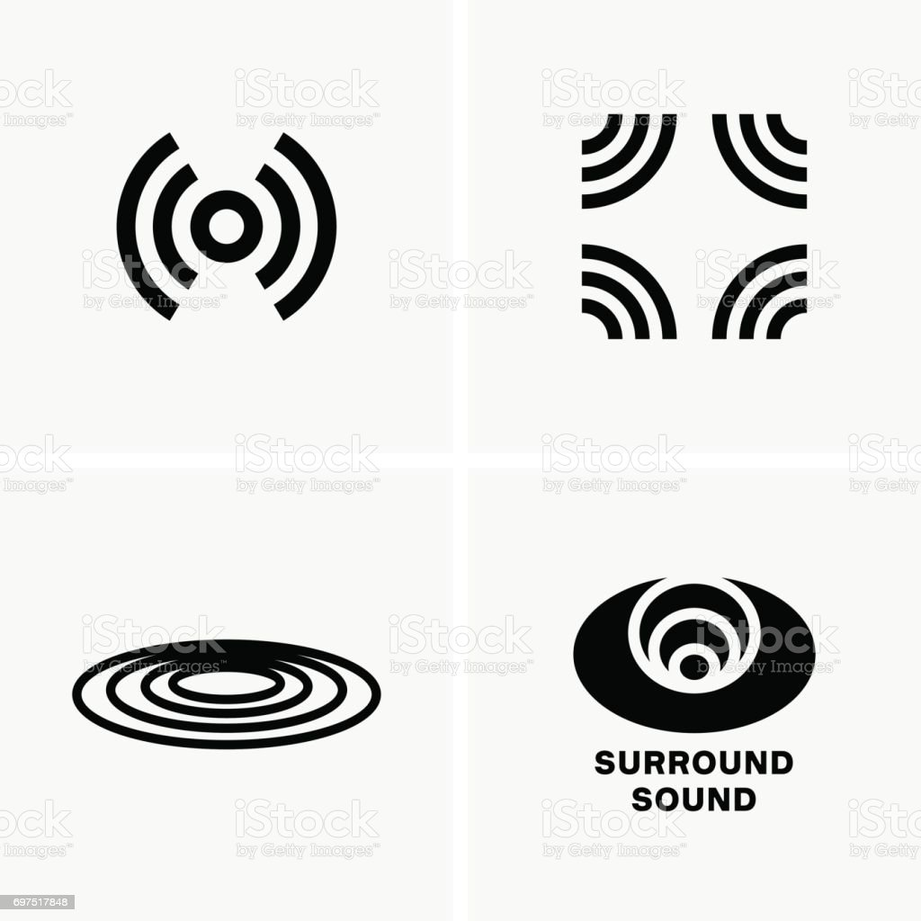 Surround sound symbols vector art illustration
