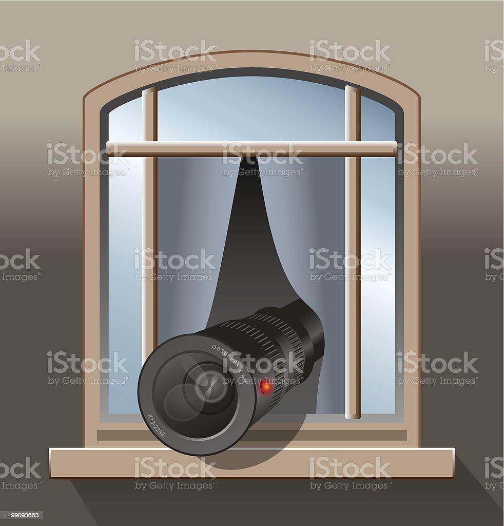Surveillance Agent Camera vector art illustration