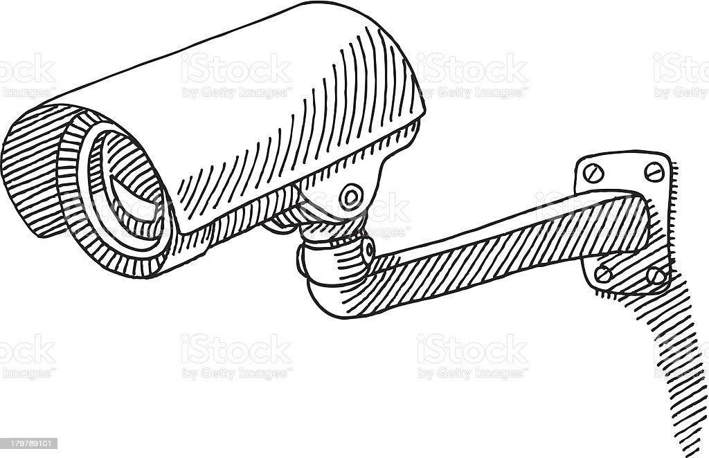 Surveillance Camera Drawing royalty-free stock vector art