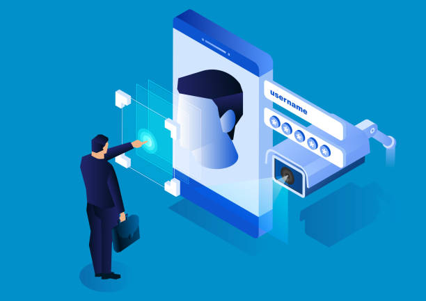 surveillance cameras monitor smartphone face recognition systems, modern network security technology - facial recognition stock illustrations